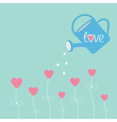 Water can and flowers in shape of heart Love card vector