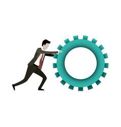White background with businessman pushing a big vector