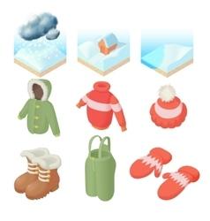 Winter icons set cartoon style vector