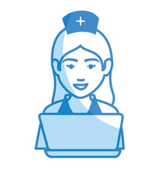 Woman nurse with laptop avatar character vector