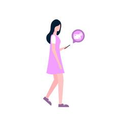 woman send secret messages by smartphone vector image