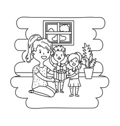 Woman with children black and white vector