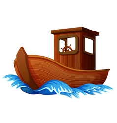wooden boat sailing in the ocean vector image