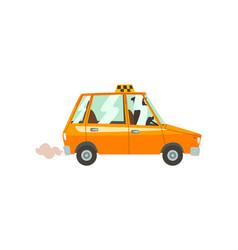 yellow taxi car taxi service cartoon vector image