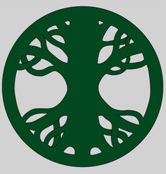 Yggdrasil ash tree green circular logo vector