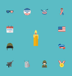 flat icons history usa badge medallion and other vector image vector image
