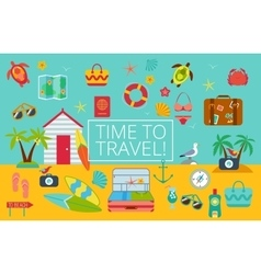 Flat icons set of traveling vector image vector image