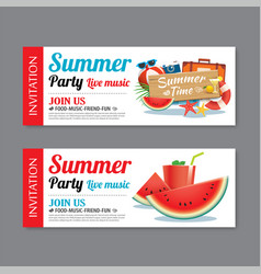 summer pool party invitation ticket template vector image