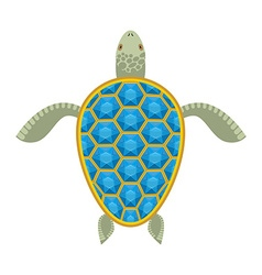 Water turtle Sapphire carapace Marine animal with vector image vector image