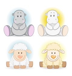 Cartoon hippo and sheep baby toy vector image