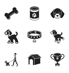 Dog equipment set icons in black style Big vector image