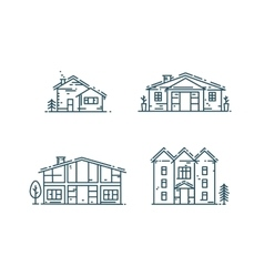 Line houses icon set vector image vector image