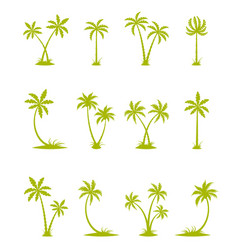 set of silhouettes of palm trees vector image
