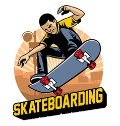 skater do the skateboard jumping trick vector image vector image