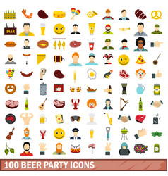 100 beer party icons set flat style vector image