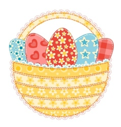 easter basket on white vector image vector image