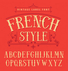 french style label font poster vector image vector image