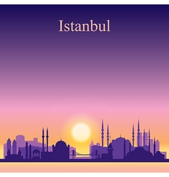 Istanbul silhouette on sunset background vector image