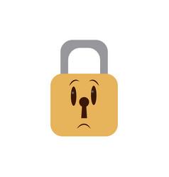 Kawaii padlock security close privacy cartoon vector
