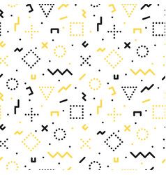 memphis seamless pattern with geometric shapes vector image