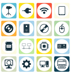 set of 16 computer hardware icons includes laptop vector image