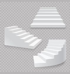 White stairs realistic isolated set 3d staircases vector