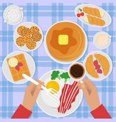 breakfast top view in flat vector image vector image