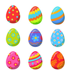 easter egg with colorful bright ornamental design vector image