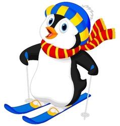 Penguin cartoon skiing vector image vector image
