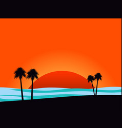 silhouettes of palm trees on sunset background vector image vector image