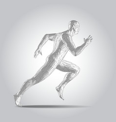 3d polygonal human body sprinter running figure vector