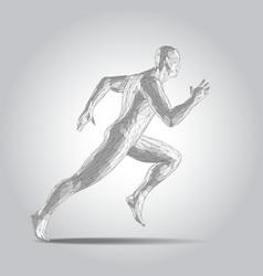 3d polygonal human body sprinter running figure vector image