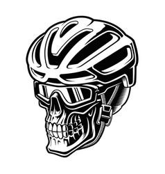 A cyclist skull in helmet vector
