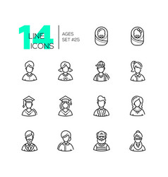 Ages - set of line design style icons vector
