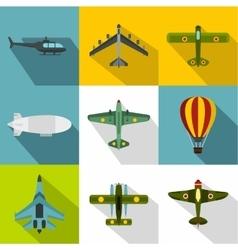 Aircraft icons set flat style vector