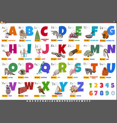 alphabet with cartoon characters and objects vector image