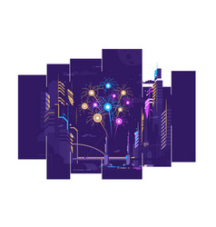amazing fireworks in city vector image