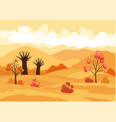 autumn landscape field with trees vector image