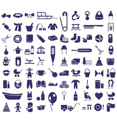 baby items icons vector image