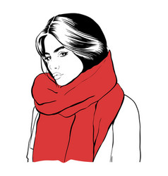 beautiful young woman in a red scarf hand drawn vector image