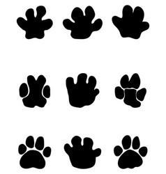 black footprints of hippopotamus vector image