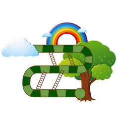 Boardgame template with tree and rainbow vector