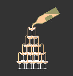 bottle pour glass of champagne tower alcohol in vector image
