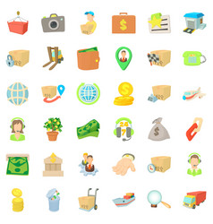 Business bag icons set cartoon style vector