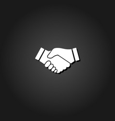 business handshake contract agreement icon flat vector image
