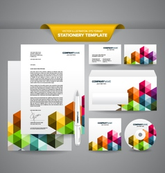 Business Stationery Template Triangles vector
