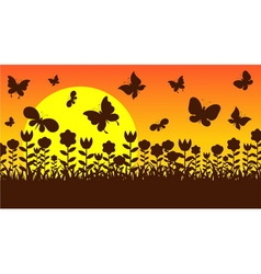 Butterfly in garden vector