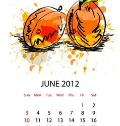 calendar with fruit for 2012 june vector image