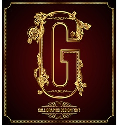 Calligraphic font Letter G vector
