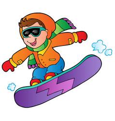 Cartoon boy on snowboard vector